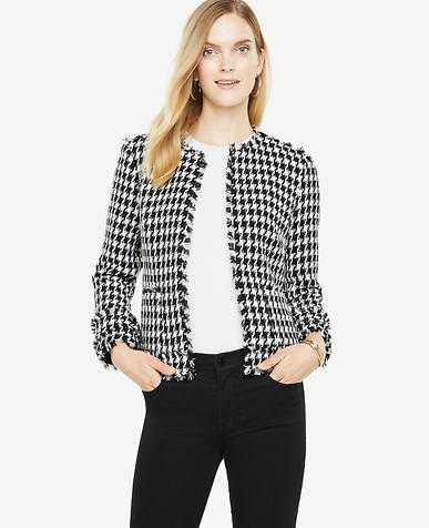 Houndstooth Fringe Jacket