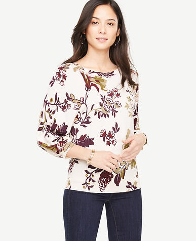 Floral Lantern Sleeve Sweater