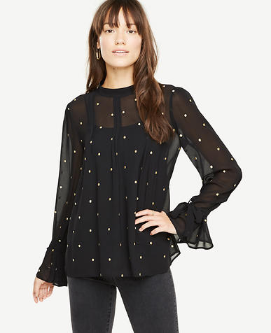 Sheer Clip Dot Blouse