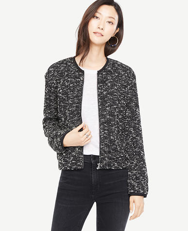 Petite Knit Tweed Bomber Jacket