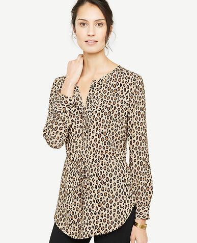 Cheetah Print Tie Waist Tunic Blouse