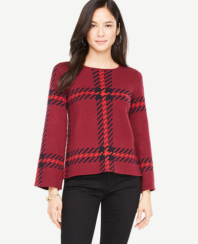 Plaid Bell Sleeve Sweater