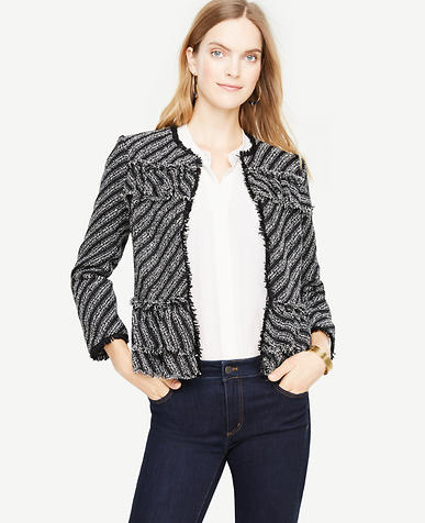 Petite Ruffle Tweed Diagonal Stripe Jacket