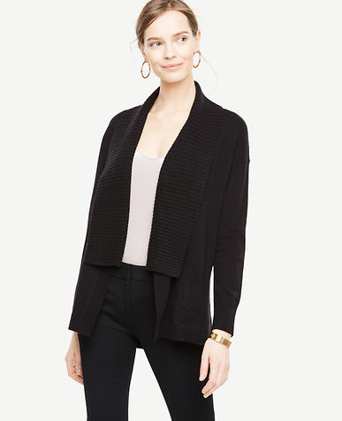 Ribbed Shawl Collar Open Cardigan