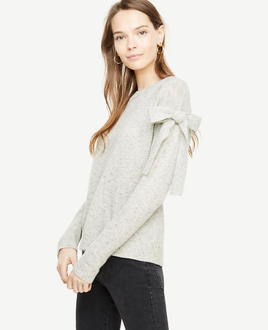 Petite Shoulder Tie Sweater