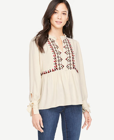 Petite Tie Sleeve Embroidered Top