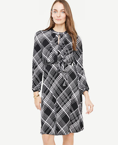 Petite Plaid Blouson Sleeve Dress