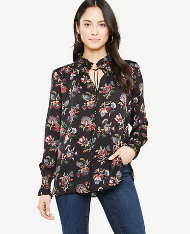 Petite Shawl Floral Smocked Neck Popover Blouse