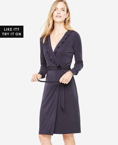Tall Ruffle Trim Wrap Dress