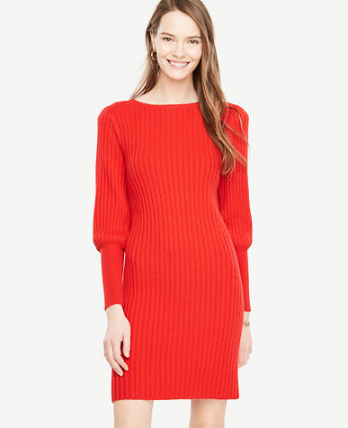 Lantern Sleeve Sweater Dress