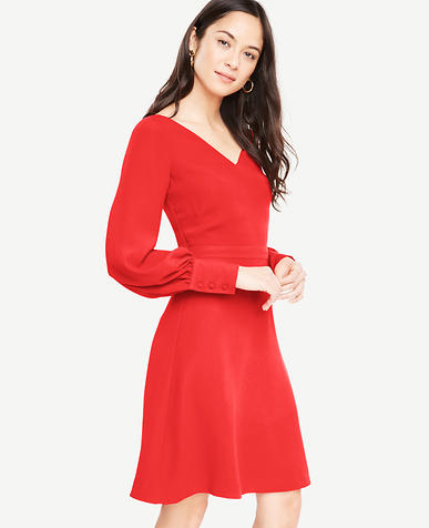 Tall Lantern Sleeve Flare Dress