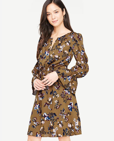 Petite Opulent Floral Ruffle Sleeve Dress