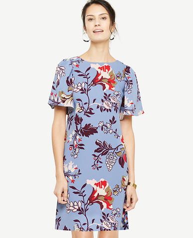 Petite Floral Flutter Sleeve Shift Dress