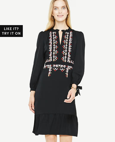Petite Long Sleeve Embroidered Dress