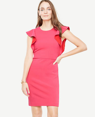 Ruffle Sleeve Sheath Dress