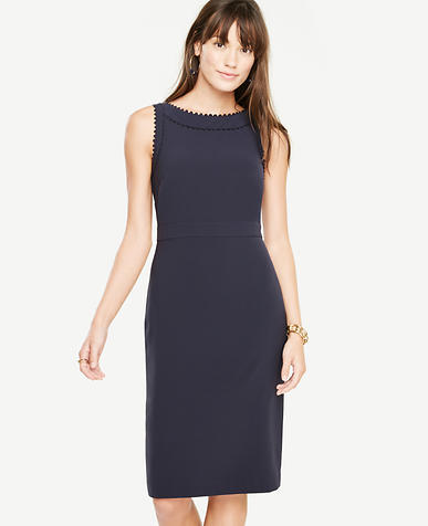 Petite Scallop Trim Sheath Dress