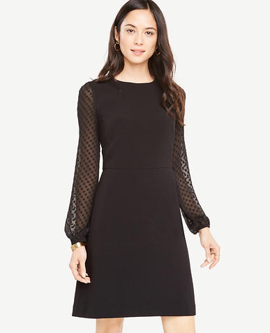 Petite Chiffon Dot Sleeve Shift Dress