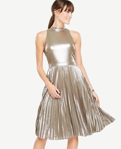 Petite Shimmer Chiffon Pleated Dress