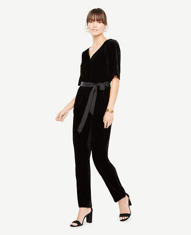 Tall Belted Velvet Jumpsuit
