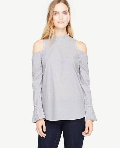 Petite Stripe Cold Shoulder Mock Neck Top