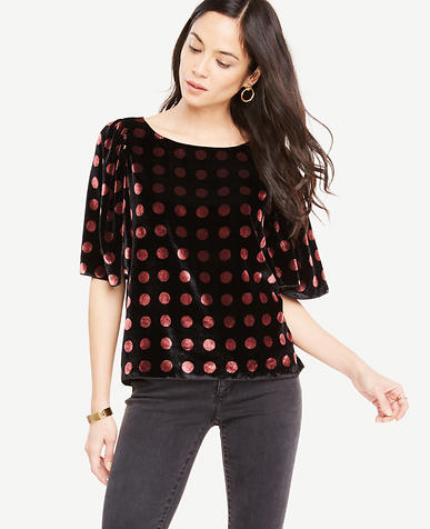 Petite Velvet Dotted Puff Sleeve Top