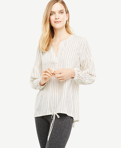 Tall Striped Split Neck Drawstring Top