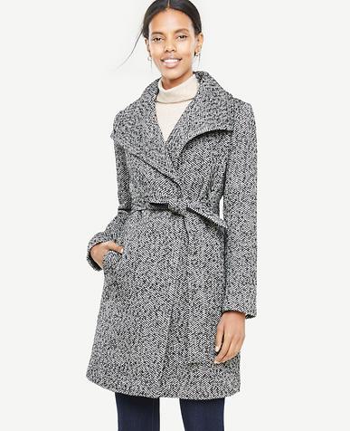 Petite Herringbone Wrap Coat