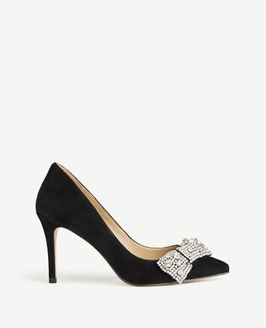 Wynn Jeweled Bow Suede Pumps