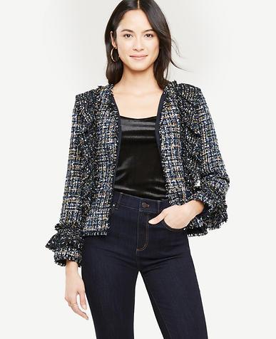 Petite Ruffle Tweed Peplum Jacket