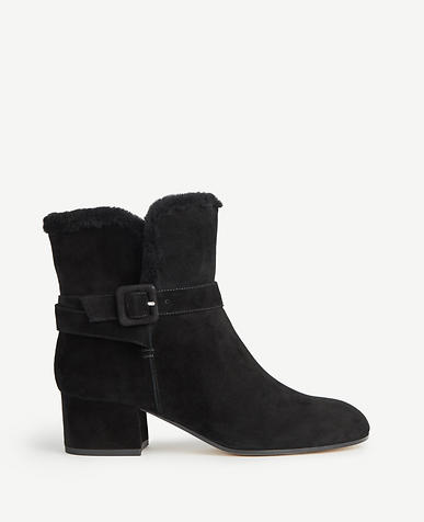 Sidney Shearling Buckle Booties