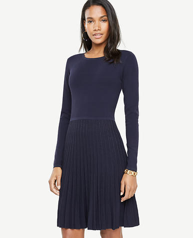 Petite Shimmer Pleated Sweater Dress