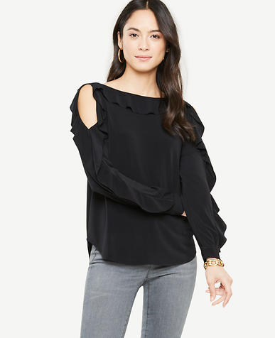 Petite Ruffle Cold Shoulder Top