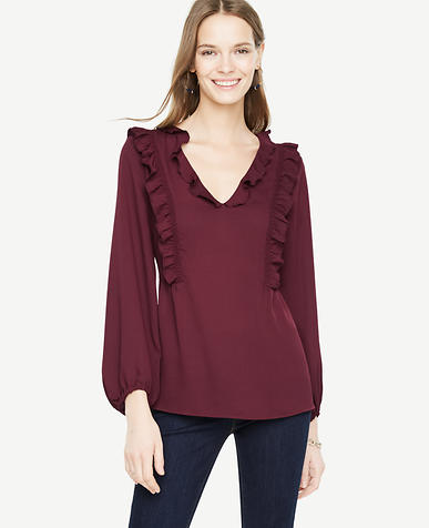 Ruffled V-Neck Blouse
