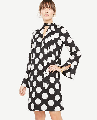 Polka Dot Tie Neck Dress