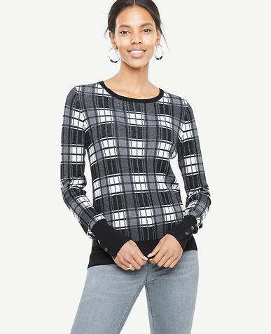 Plaid Jacquard Button Cuff Sweater