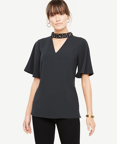 Beaded Neck Cutout Top