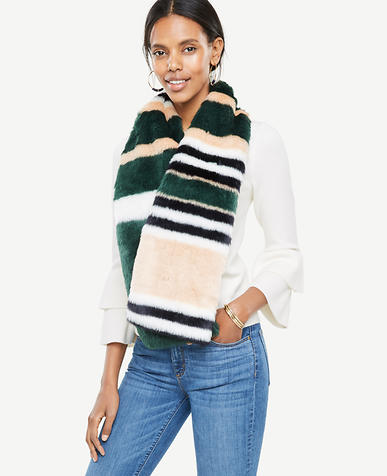 Striped Faux Fur Stole