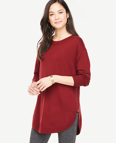 Extrafine Merino Wool Side Zip Round Hem Sweater