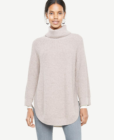 Stitched Turtleneck Poncho