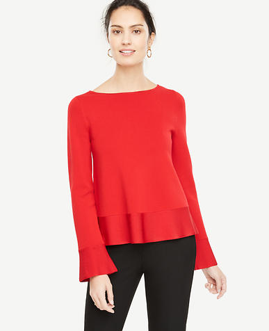 Ruffle Trim Peplum Sweater
