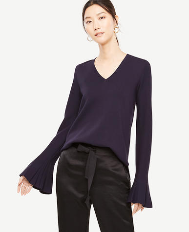 Pleated Bell Sleeve Sweater