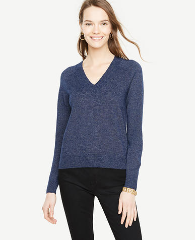 Metallic Shimmer V-Neck Sweater