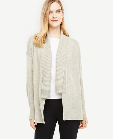 Petite Ribbed Shawl Collar Open Cardigan