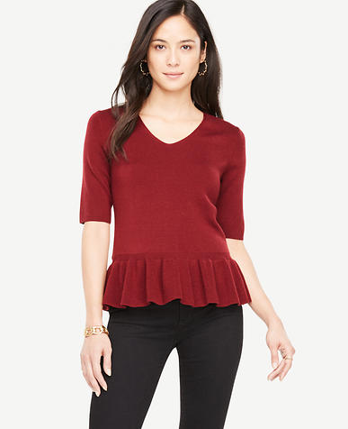 Elbow Sleeve Peplum Sweater