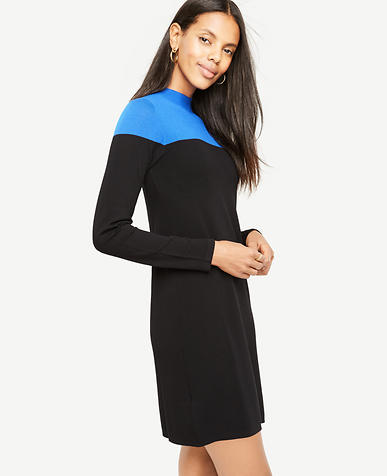 Petite Colorblock Mock Neck Sweater Dress