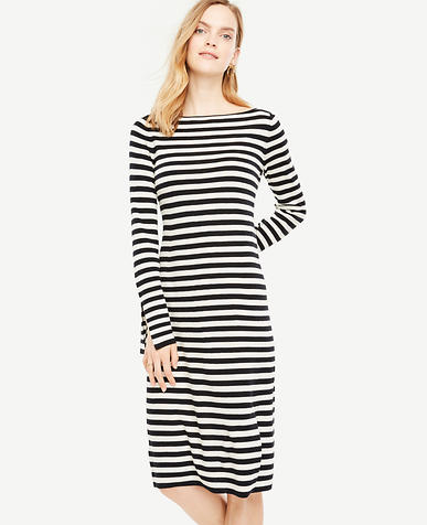 Petite Striped Slit Cuff Sweater Dress