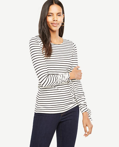 Petite Stripe Ruched Tie Sleeve Top