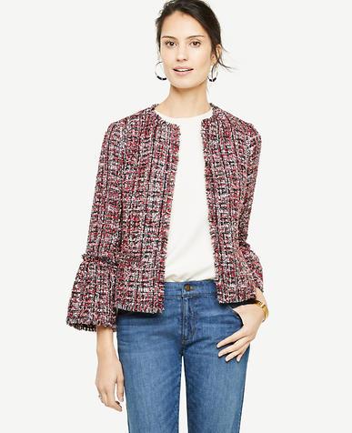 Petite Fringe Tweed Ruffle Cuff Jacket