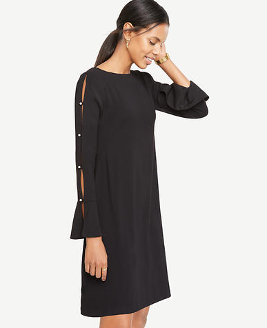 Petite Pearlized Button Slit Sleeve Flare Dress
