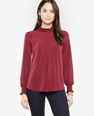 Smocked Neck Top